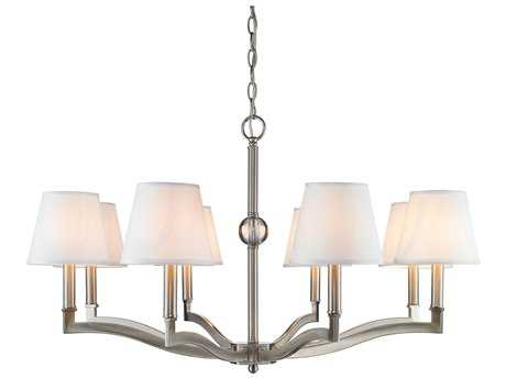 Golden Lighting Waverly Pewter Eight-Light 34'' Wide Chandelier with Classic White Shade