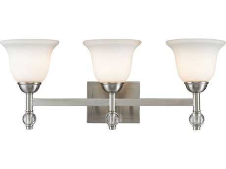 Golden Lighting Waverly Pewter Three-Light Vanity Light with Opal Glass