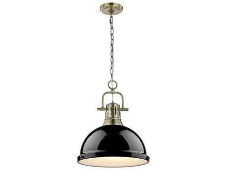 Golden Lighting Duncan Aged Brass 14'' Wide Pendant Ceiling Light with Black