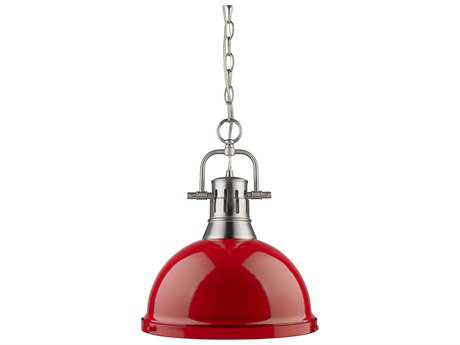 Golden Lighting Duncan Pewter 14'' Wide Pendant Ceiling Light with Red Shade