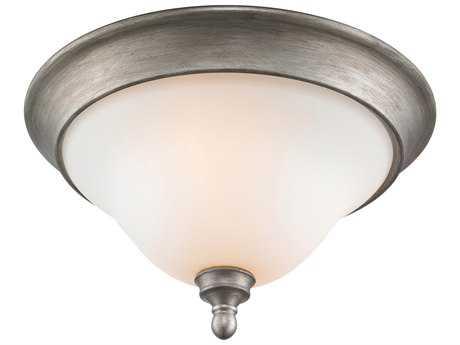 Golden Lighting Rockefeller Peruvian Silver Three-Light 16.5'' Wide Semi-Flush Mount Light with Opal Glass