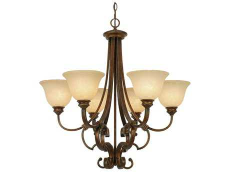 Golden Lighting Rockefeller Champagne Bronze Six-Light 28.75'' Wide Chandelier with Tea Stone Glass