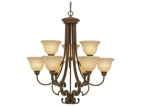 Golden Lighting Rockefeller Champagne Bronze Nine-Light 31.25'' Wide Chandelier with Tea Stone Glass