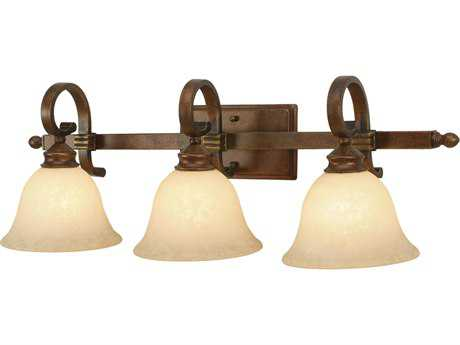 Golden Lighting Rockefeller Champagne Bronze Three-Light Vanity Light with Tea Stone Glass