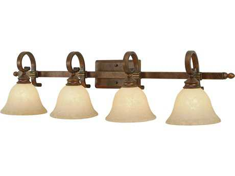 Golden Lighting Rockefeller Champagne Bronze Four-Light Vanity Light with Tea Stone Glass