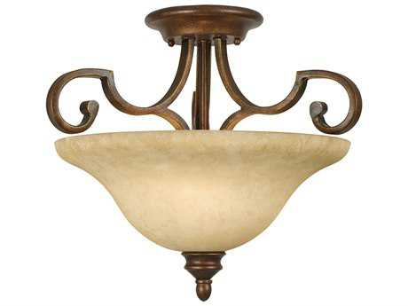 Golden Lighting Rockefeller Champagne Bronze Three-Light 18.75'' Wide Convertible Pendant / Semi-Flush Mount Light with Tea Stone Glass