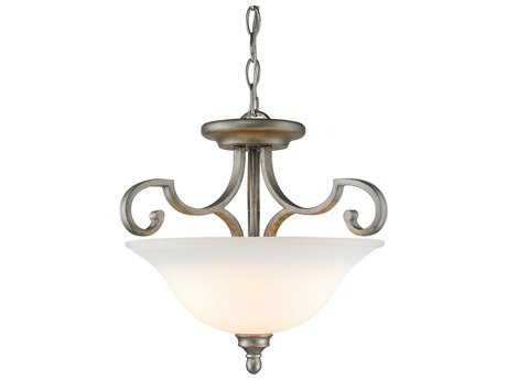 Golden Lighting Rockefeller Peruvian Silver Three-Light 18.75'' Wide Convertible Pendant / Semi-Flush Mount Light with Opal Glass