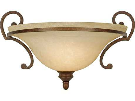 Golden Lighting Rockefeller Champagne Bronze Wall Sconce with Tea Stone Glass