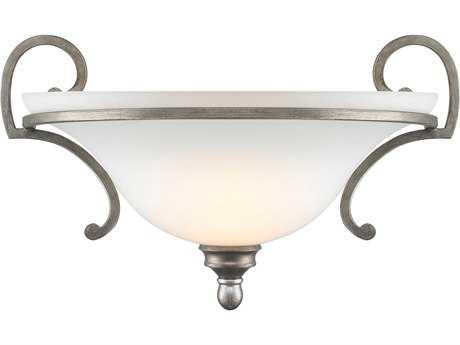 Golden Lighting Rockefeller Peruvian Silver Wall Sconce with Opal Glass