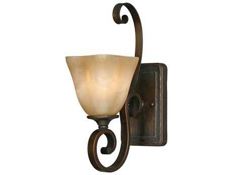 Golden Lighting Meridian Golden Bronze Wall Sconce with Antique Marbled Glass
