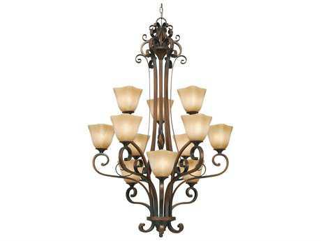 Golden Lighting Meridian Golden Bronze 12-Light 32'' Wide Chandelier with Antique Marbled Glass
