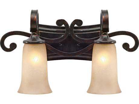 Golden Lighting Portland Fired Bronze Two-Light Vanity Light with Birch Glass