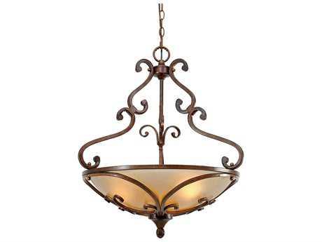 Golden Lighting Loretto Russet Bronze Three-Light 23.25'' Wide Pendant Ceiling Light with Riffled Tannin Glass