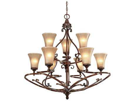 Golden Lighting Loretto Russet Bronze Nine-Light 34'' Wide Chandelier with Riffled Tannin Glass