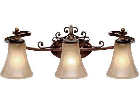 Golden Lighting Loretto Russet Bronze Three-Light Vanity Light with Riffled Tannin Glass