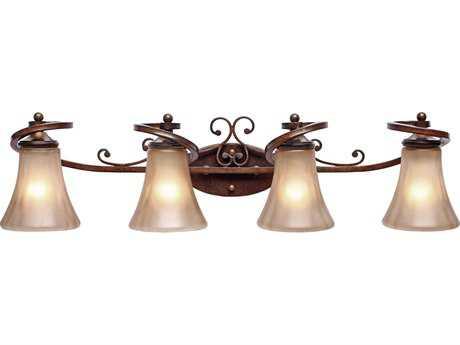 Golden Lighting Loretto Russet Bronze Four-Light Vanity Light with Riffled Tannin Glass