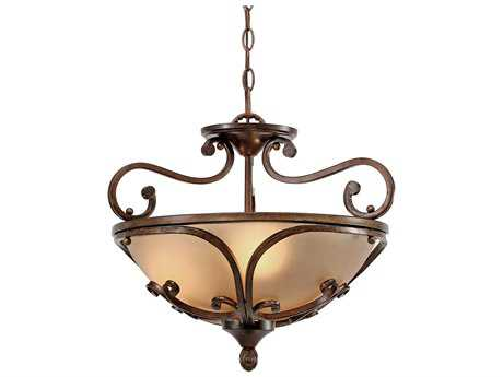 Golden Lighting Loretto Russet Bronze Three-Light 19'' Wide Convertible Pendant / Semi-Flush Mount Light with Riffled Tannin Glass