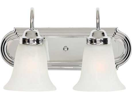 Golden Lighting Brookfield Chrome Two-Light Vanity Light with Marbled Glass