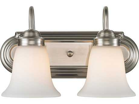 Golden Lighting Brookfield Pewter Two-Light Vanity Light with Opal Glass