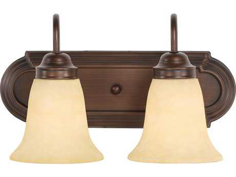 Golden Lighting Brookfield Rubbed Bronze Two-Light Vanity Light with Tea Stone Glass