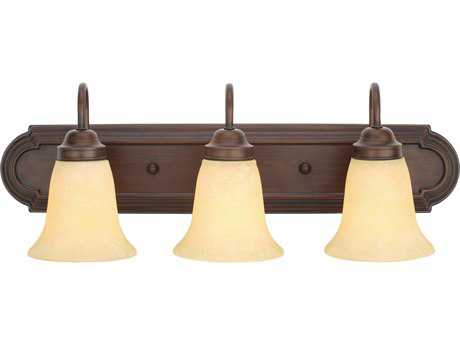 Golden Lighting Brookfield Rubbed Bronze Three-Light Vanity Light with Tea Stone Glass