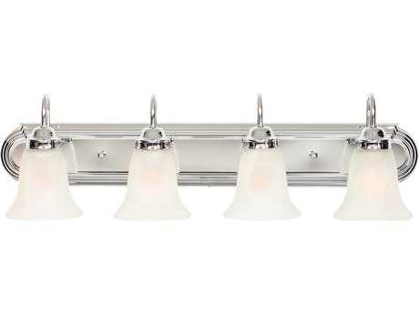 Golden Lighting Brookfield Chrome Four-Light Vanity Light with Marbled Glass
