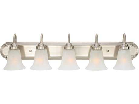 Golden Lighting Brookfield Pewter Five-Light Vanity Light with Marbled Glass