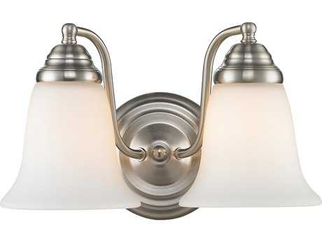 Golden Lighting Centennial Pewter Two-Light Vanity Light with Opal Glass
