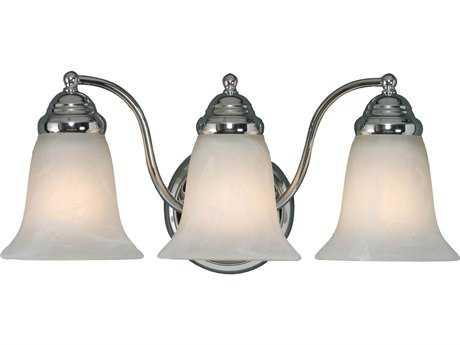 Golden Lighting Centennial Chrome Three-Light Vanity Light with Marbled Glass