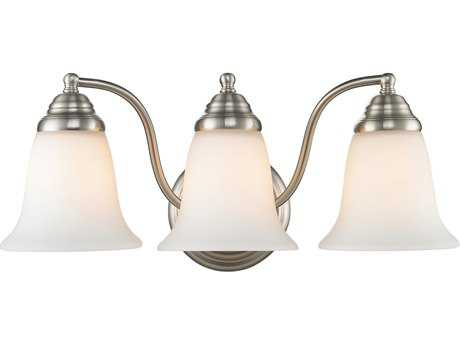 Golden Lighting Centennial Pewter Three-Light Vanity Light with Opal Glass