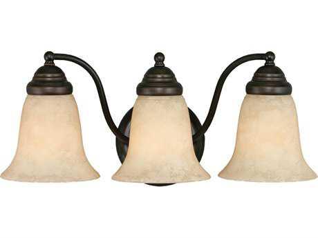Golden Lighting Centennial Rubbed Bronze Three-Light Vanity Light with Tea Stone Glass