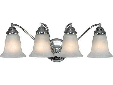 Golden Lighting Centennial Chrome Four-Light Vanity Light with Marbled Glass