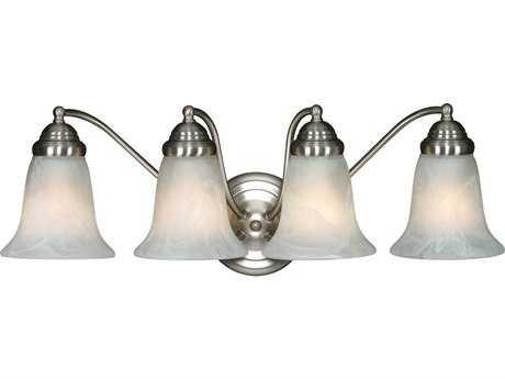 Golden Lighting Centennial Pewter Four-Light Vanity Light with Marbled Glass