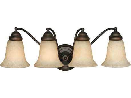 Golden Lighting Centennial Rubbed Bronze Four-Light Vanity Light with Tea Stone Glass