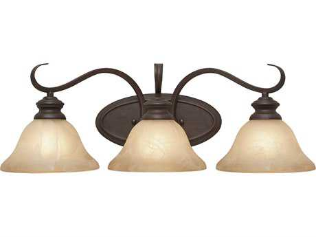 Golden Lighting Lancaster Rubbed Bronze Three-Light Vanity Light with Antique Marbled Glass