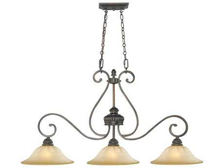 Golden Lighting Mayfair Leather Crackle Three-Light 42'' Wide Island Light with Creme Brulee Glass