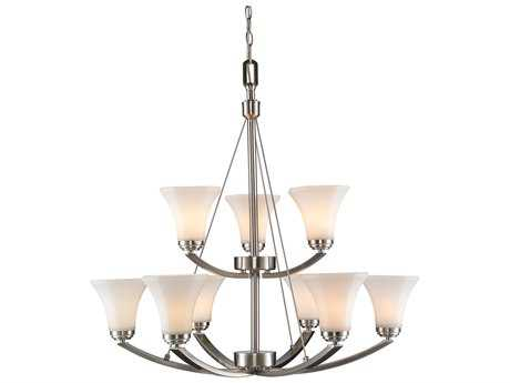 Golden Lighting Accurian Pewter Nine-Light 32'' Wide Chandelier with Opal Glass