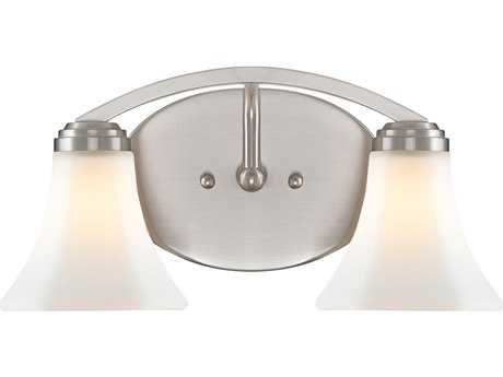 Golden Lighting Accurian Pewter Two-Light Vanity Light with Opal Glass