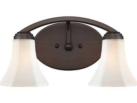 Golden Lighting Accurian Rubbed Bronze Two-Light Vanity Light with Opal Glass