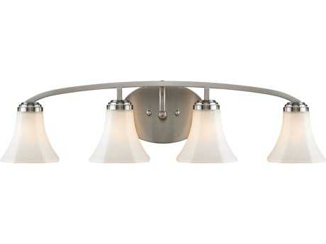 Golden Lighting Accurian Pewter Four-Light Vanity Light with Opal Glass