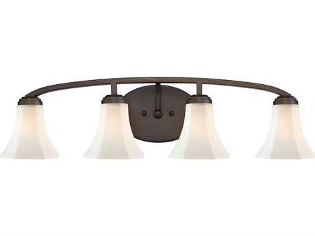 Golden Lighting Accurian Rubbed Bronze Four-Light Vanity Light with Opal Glass