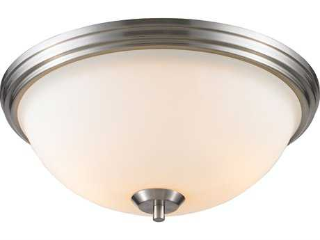 Golden Lighting Accurian Pewter Two-Light 14'' Wide Semi-Flush Mount Light with Opal Glass