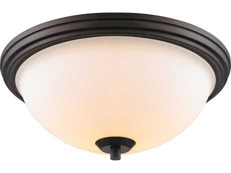 Golden Lighting Accurian Rubbed Bronze Two-Light 14'' Wide Semi-Flush Mount Light with Opal Glass