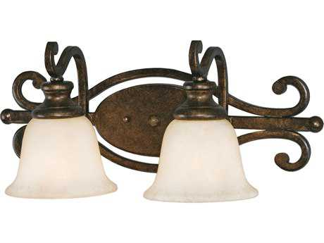 Golden Lighting Heartwood Burnt Sienna Two-Light Vanity Light with Tea Stone Glass