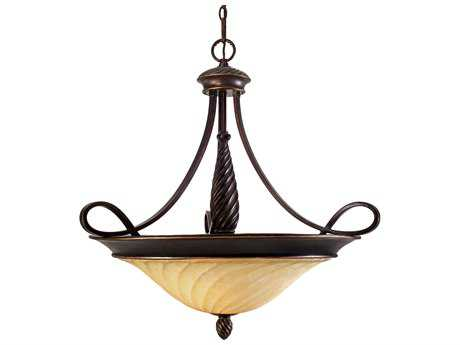 Golden Lighting Torbellino Cordoban Bronze Three-Light 29.75'' Wide Pendant Ceiling Light with Remolino Glass