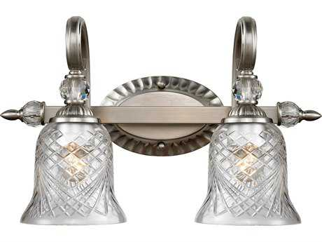 Golden Lighting Alston Place Pewter Two-Light Vanity Light with Iced Crystal Glass