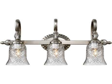Golden Lighting Alston Place Pewter Three-Light Vanity Light with Iced Crystal Glass