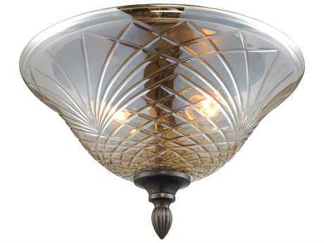 Golden Lighting Alston Place Burnt Sienna Two-Light 13.25'' Wide Semi-Flush Mount Light with Heirloom Crystal Glass