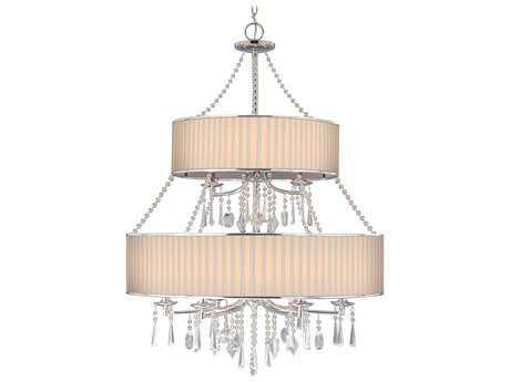 Golden Lighting Echelon Chrome Nine-Light 32'' Wide Chandelier with Bridal Veil Shade