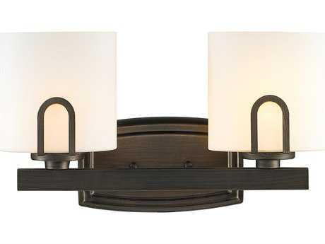 Golden Lighting Presilla Gunmetal Bronze Two-Light Vanity Light with Opal Glass